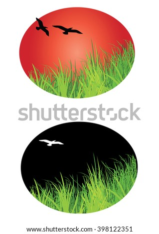 landscape icon with birds flying and shaped in a oval design - stock vector