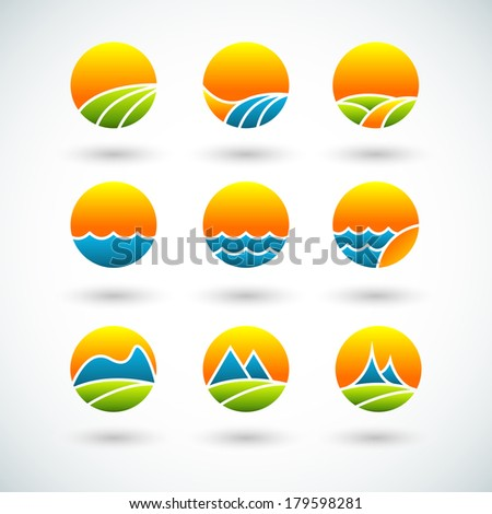 Landscape icons - stock vector