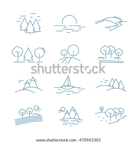 Landscape Icons Set - Isolated On White Background. Vector Illustration, Graphic Design. For Web, Websites, Print