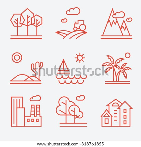 Landscape icons, thin line style, flat design - stock vector