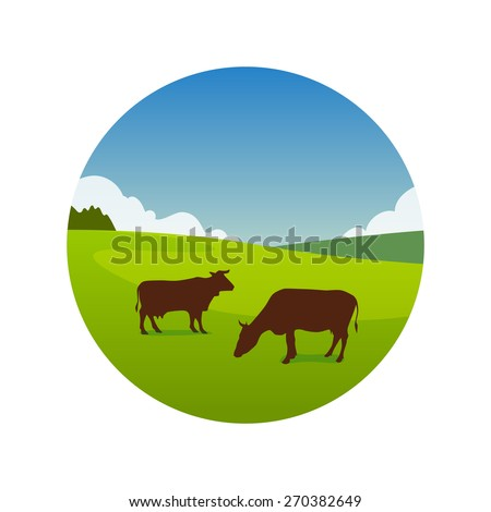 Landscape Illustration of green meadow with grazing cows in great summer day, Vector emblem isolated on white background - stock vector