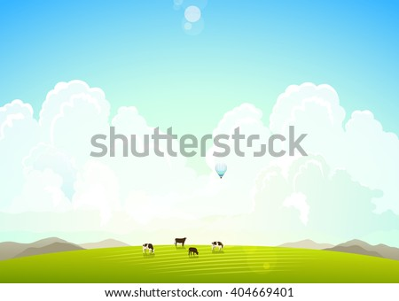 Landscape illustration of green meadows and mountains hills and clouds, cows on a green meadow, Summer landscape, Summer nature, Summer sky with clouds - stock vector