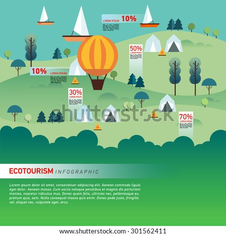 Landscape Infographics. Lake and Hills Hiking Route. Ecotourism. Flat illustration. nature and outdoor, park, garden. Ecology structure. Green energy - stock vector