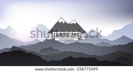 landscape mountain background - stock vector