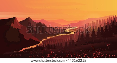 Landscape. Mountains, ascending or a sitting down sun , vector - stock vector