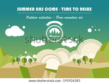 landscape nature background in flat style. vector design - stock vector