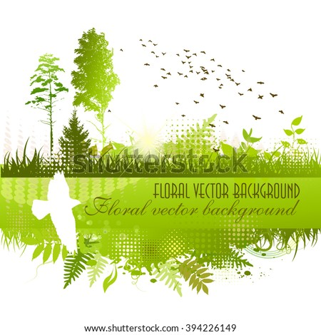 Landscape nature trees with birds. Vector - stock vector
