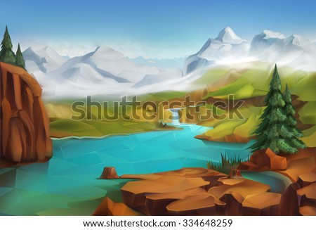 Landscape, nature vector background - stock vector