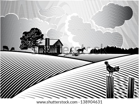 Landscape of farmer plowing field at sunrise, vector - stock vector