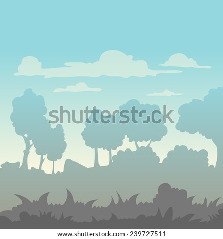 landscape of fogy morning - stock vector