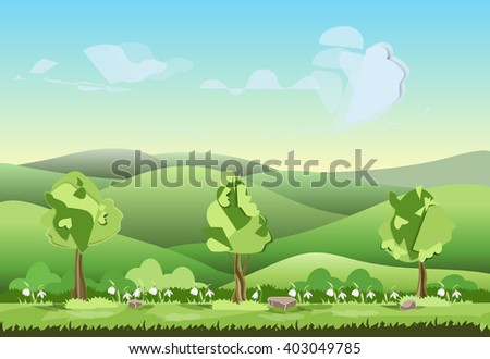 landscape of hills with trees flowers vector illustration  - stock vector