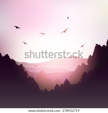 Landscape of mountains and trees against a sunset sky - stock vector