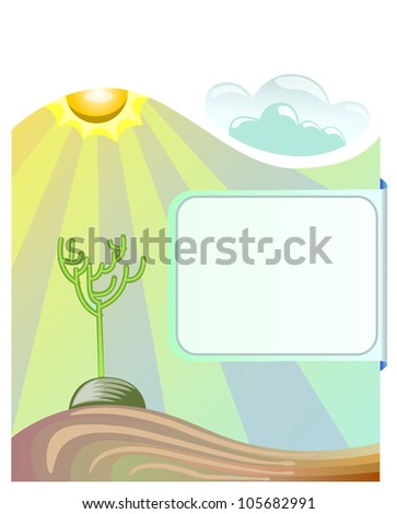landscape of sun and cloud with ray of light above the dry tree covered by blank space for text - stock vector
