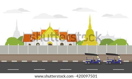 Landscape Thailand Temple Vector Stock Vector Shutterstock - Temple landscape architecture