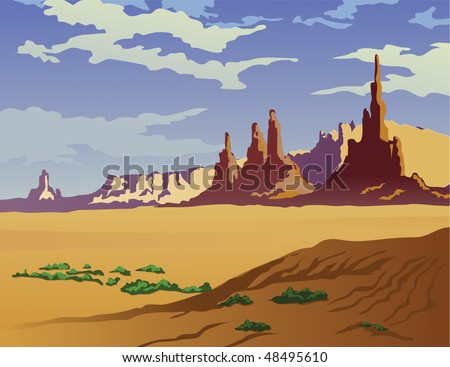 Landscape of the Arizona desert. - stock vector
