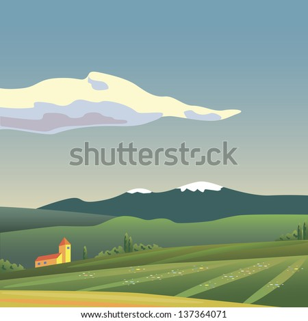Landscape of the building in the meadows - stock vector