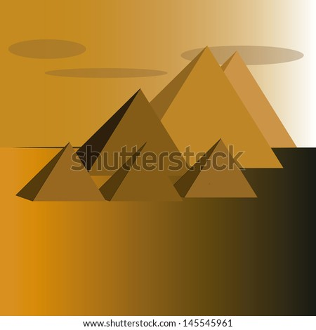 landscape of the pyramids of Egypt in orange and brown. - stock vector