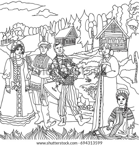 Landscape people in national costumes