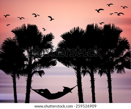 Landscape Scene of palm tree at sea Silhouetted against a Beautiful Cloudy Sky at Sunset and bird. - stock vector