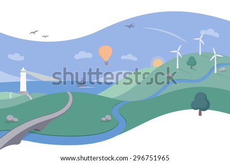 Landscape Scene with Ocean and Wind Farm - A simple and beautiful illustration in a clean and flat style with a retro touch. Great for themes of renewable energy, travel and tourism. - stock vector