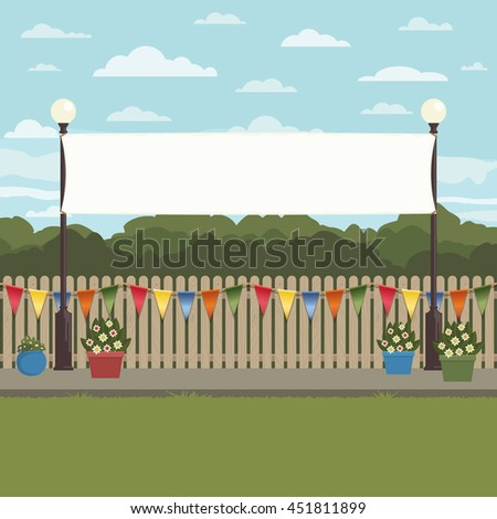 landscape scene with picket fence with bunting and blank lamp post banner for text