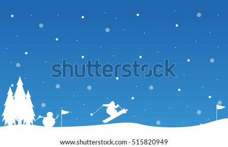 Landscape snowman and people skiing