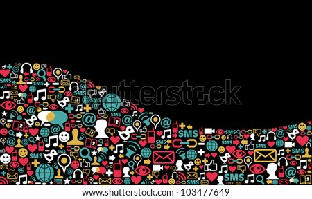 Landscape social media icons set in wave shape layout background. Vector file layered for easy manipulation and custom coloring. - stock vector