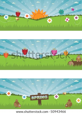 landscape spring nature banners with flowers and wildlife
