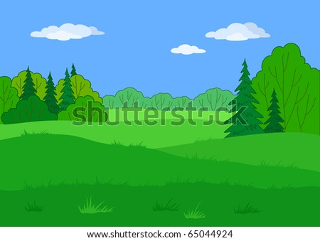 Landscape: summer green forest glade and blue sky, beautiful background