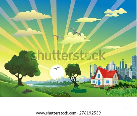 Landscape - the house on the hill in the vector