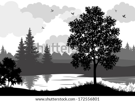 Landscape, trees, river and birds, black and grey silhouette contour on white background. Vector - stock vector
