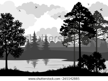 Landscape, Trees, River and Birds, Black and Grey Silhouette Contour on White Background. Vector