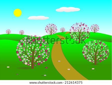 landscape. Trees with pink flowers, the road and the sky with clouds