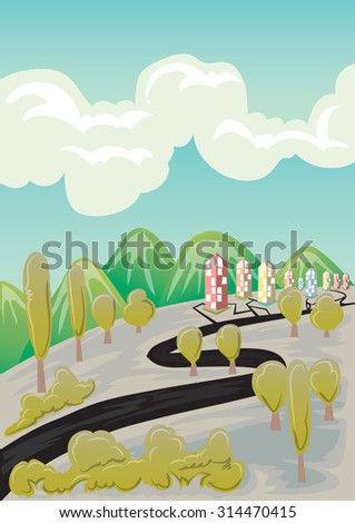 landscape vector cartoon hand draw - stock vector