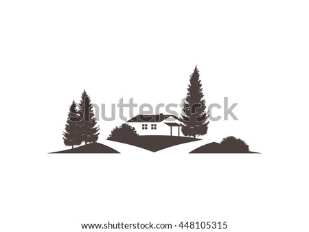 landscape vector icon with house, road, grounds and roads - stock vector