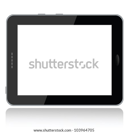 landscape view illustration of a tablet pc with white screen for copyspace,isolated in white background. - stock vector