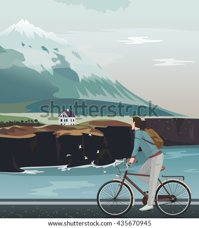 Landscape with a high mountain, cute house and north sea. Man on bicycle riding on road. Norway mountain view. Vector illustration