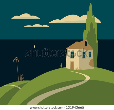 landscape with a house by the sea and clouds - stock vector