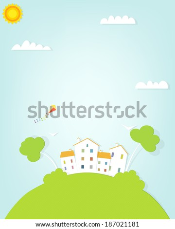 landscape with a house on the hill - stock vector