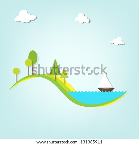 landscape with a lake, trees, and the ship - stock vector