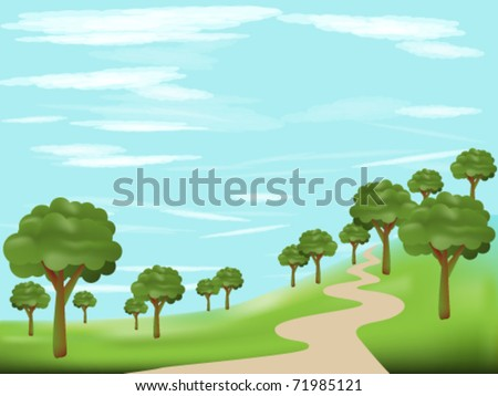 Landscape with a road through the forest - stock vector