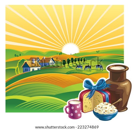 Landscape with a set of dairy products. - stock vector