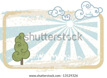 Landscape with a tree, clouds and sunny sky with a lot of space for text.