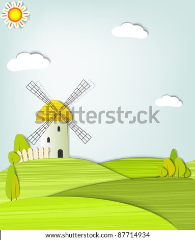 landscape with a windmill - stock vector