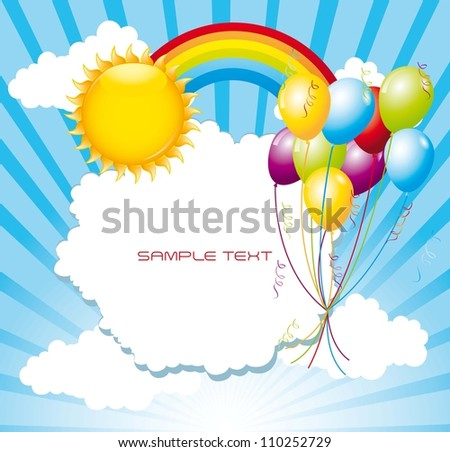 landscape with balloons over sky with rainbow and sun. vector illustration - stock vector