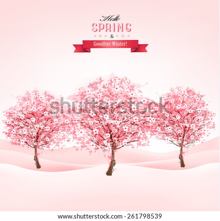 Landscape with blooming sakura trees. Vector. - stock vector