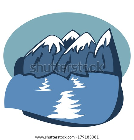 Landscape with blue mountains near lake (vector) - stock vector
