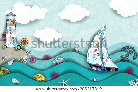Landscape with boat and will do in the midst of the sea decorated-transparency blending effects and gradient mesh-EPS 10.  - stock vector