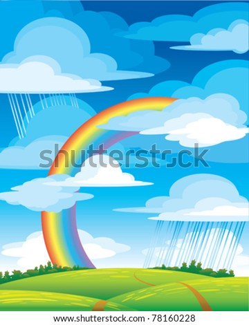 Landscape with bright rainbow, green meadow and blue cloudy sky - stock vector