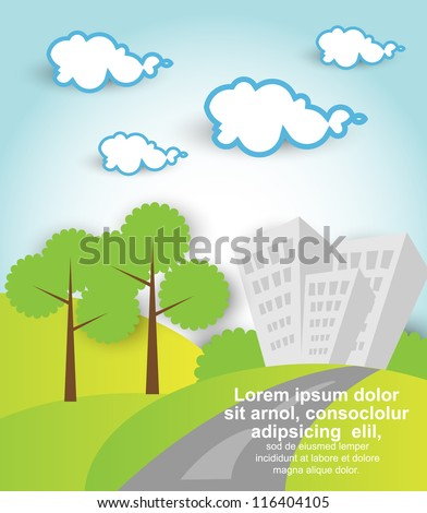 landscape with building trees and clouds - stock vector